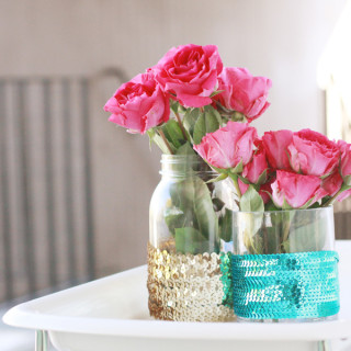 DIY Sequined Vases from www.alyssaandcarla.com