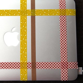 plaid washi tape computer decoration
