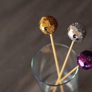 sequined swizzle sticks by www.alyssaandcarla.com