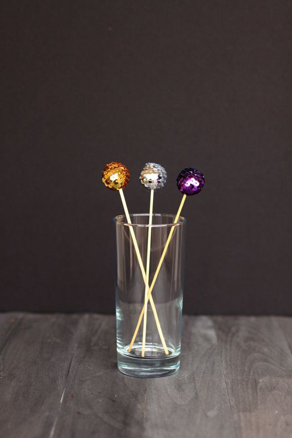 sequined swizzle sticks for parties from www.alyssaandcarla.com