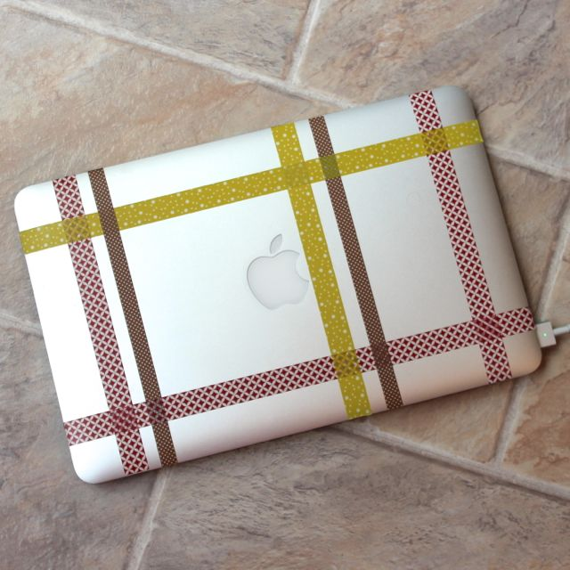 washi tape laptop lid plaid