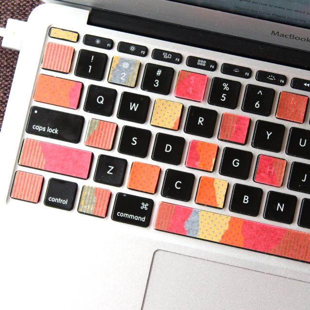 washi tape on computer keys