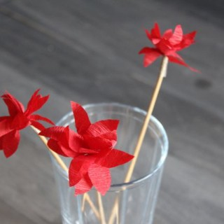 Mini Poinsettia Swizzle Sticks or Cupcake Toppers
