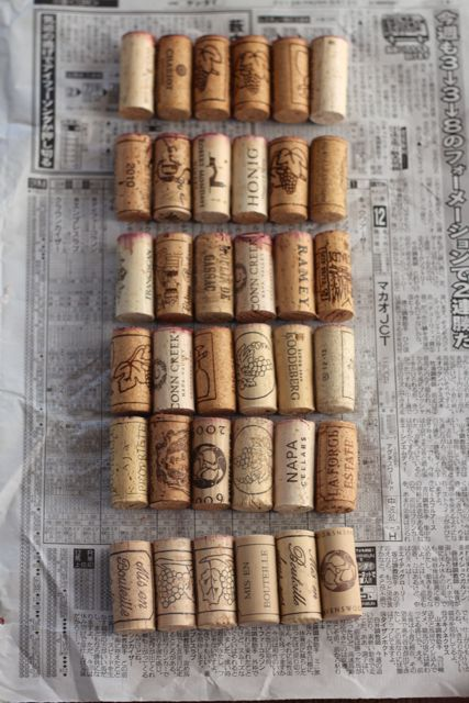 rows of glued corks