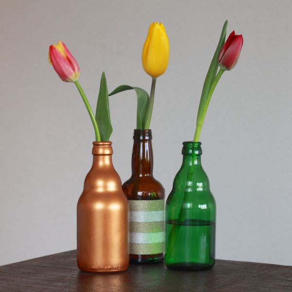 beer bottle vases from www.alyssaandcarla.com