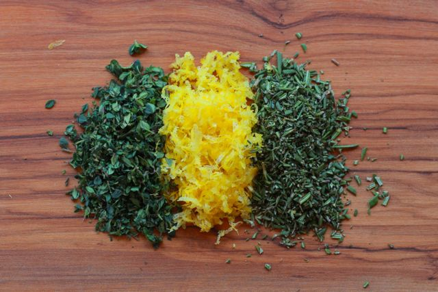 lemon zest and chopped herbs from www.alyssaandcarla.com