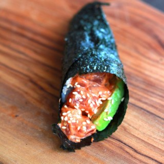 spicy tuna hand roll at www.alyssaandcarla.com