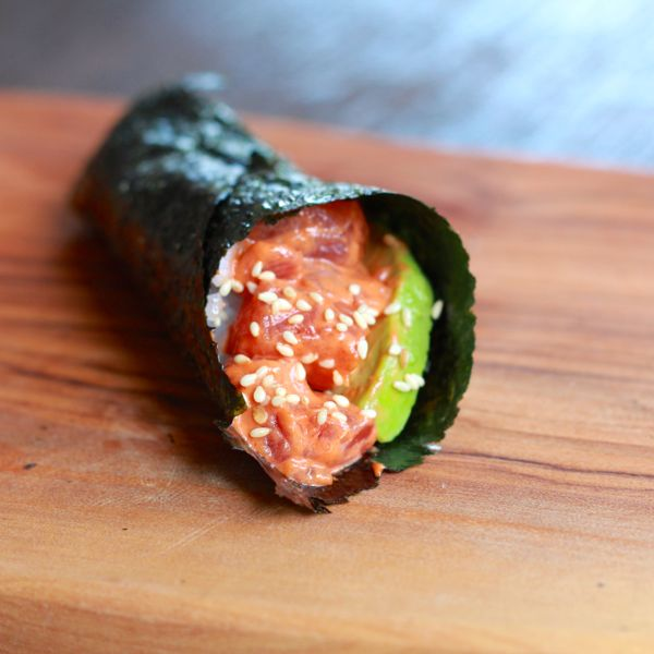 spicy tuna hand roll from www.alyssaandcarla.com