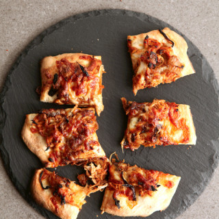 BBQ Slow Cooker Pork and Caramelized Onion Pizza