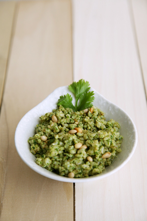 Cilantro Pesto Rice from alyssaandcarla.com