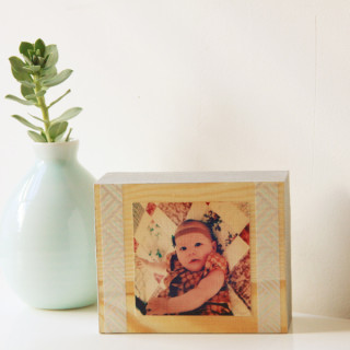 wooden photo block frame from www.alyssaandcarla.com