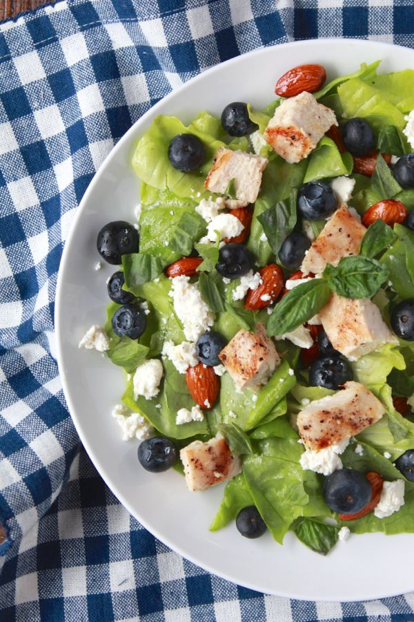 grilled chicken salad with almonds, feta, blueberries and nutty citrus ...