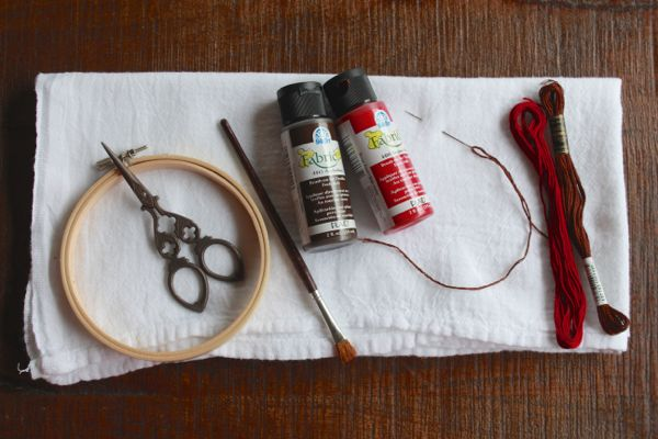supplies for embroidered watercolor napkins