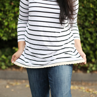 DIY Upcycled Striped Top (with Eyelet!)