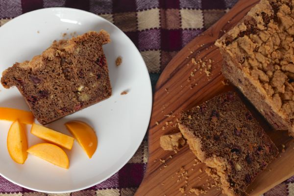 persimmon and chestnut bread with cinnamon crunch from www.alyssaandcarla.com