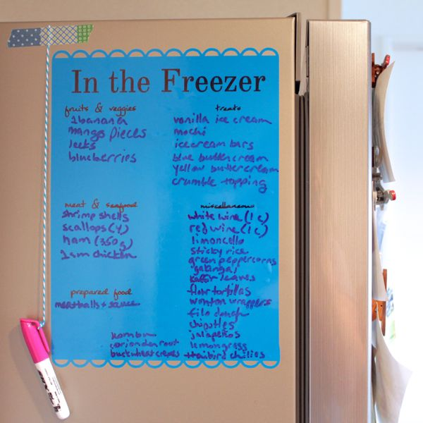 freezer list with dry erase marker from www.alyssaandcarla.com square