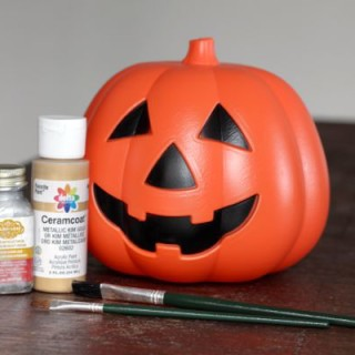 Metallic Jack-o'-Lantern from a Dollar Store Pumpkin