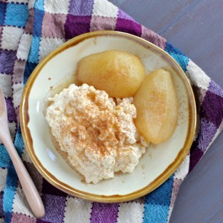 Apple Cider & Ginger Beer Poached Pears (and Vanilla Bean Rice Pudding)