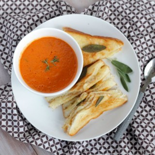 Creamy Roasted Tomato Soup with Rosemary & Garlic