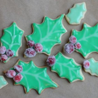 Holly Sugar Cookies with Candied Cranberries