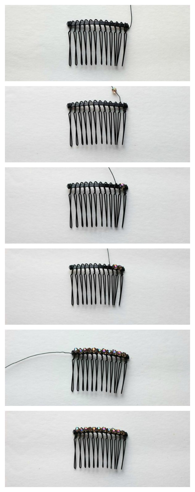 steps to make a beaded hair accessory from www.alyssaandcarla.com