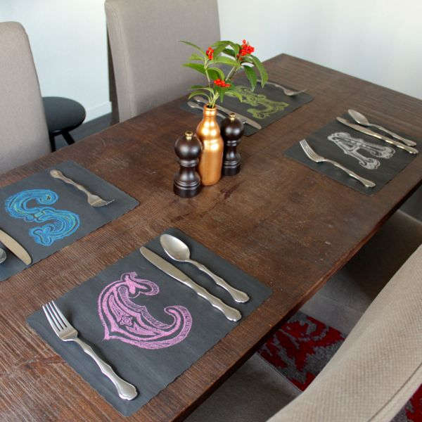 chalk lettered placemats at www.alyssaandcarla.com