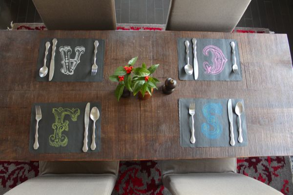 chalk lettered placemats from Alyssa & Carla