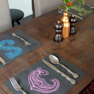 chalk lettered placemats from www.alyssaandcarla.com