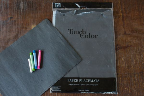 supplies for chalk lettered placemats