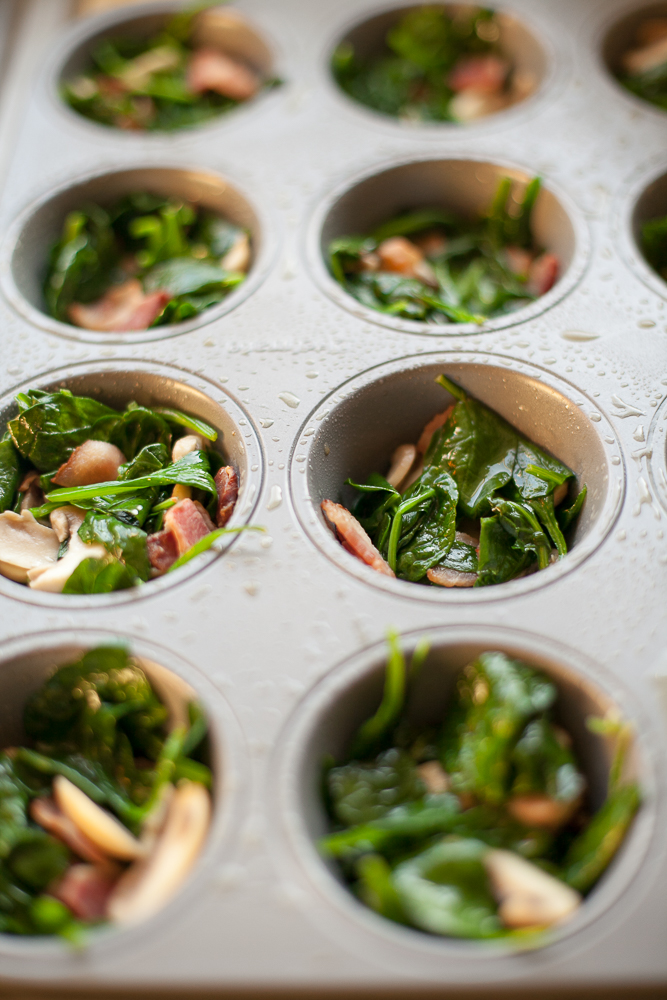 Spinach Bacon Mushroom Egg Cups - Alyssa and Carla