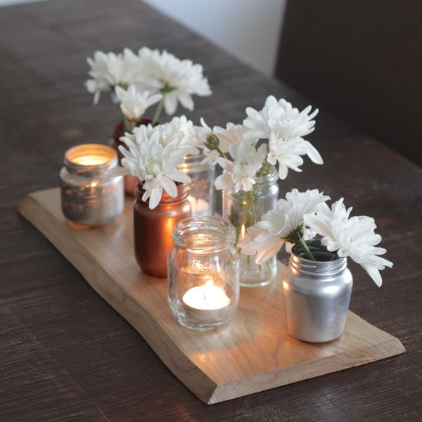 Upcycled glass jar centerpiece