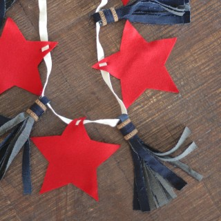 diy 4th of july garland with denim tassels