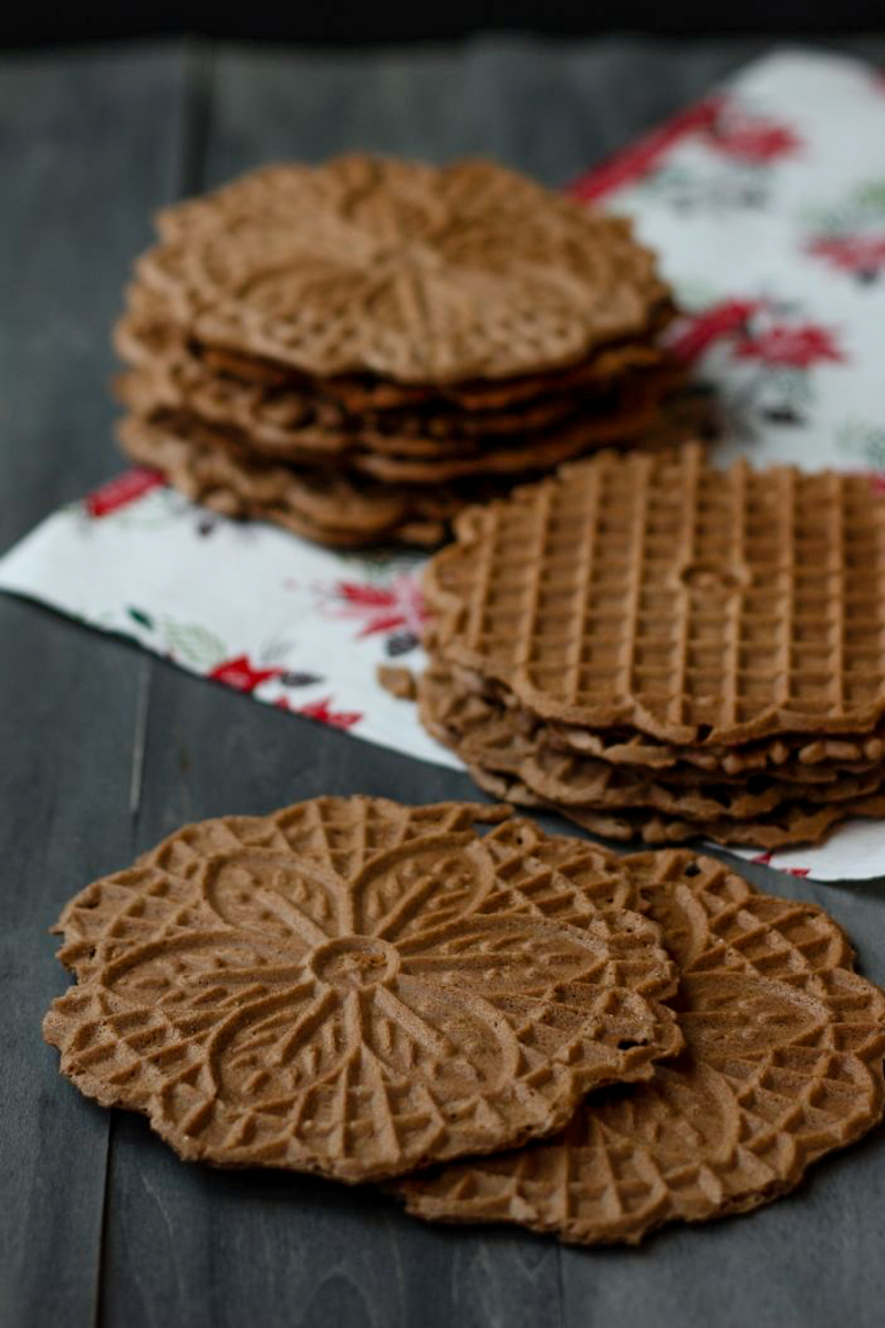 Chocolate Hazelnut Pizzelle | Alyssa & Carla