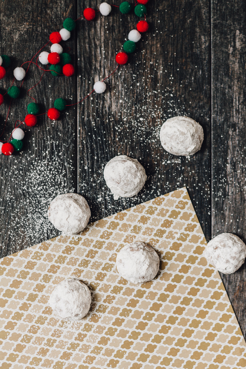 Peppermint Chocolate Mexican Wedding Cookies | Alyssa & Carla