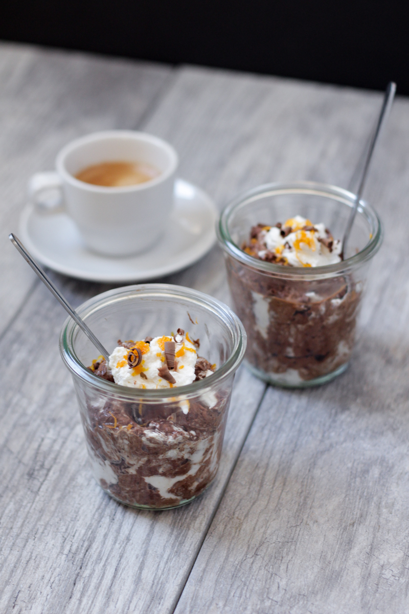 Marbled Chocolate Mousse with Orange Blossom Whipped Cream | Alyssa & Carla
