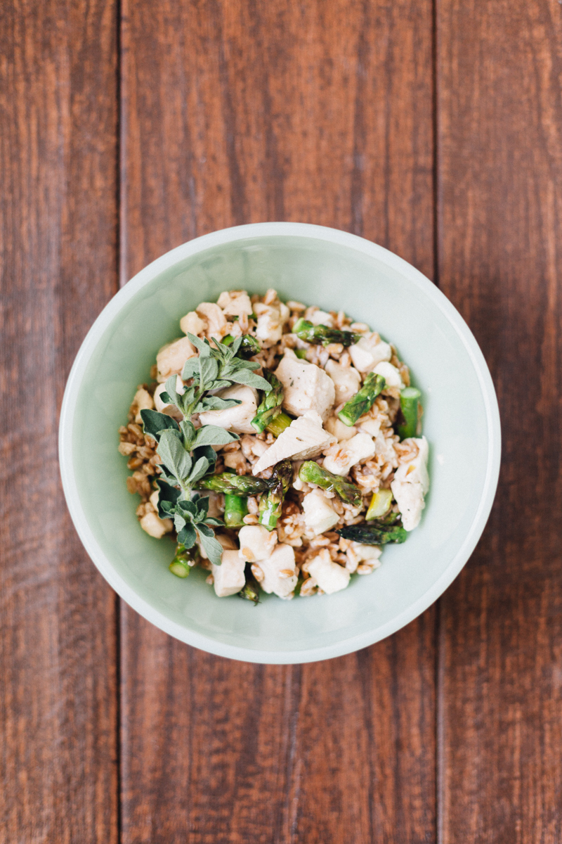 Chicken, Asparagus, and Mozzarella Farro Salad | Alyssa & Carla