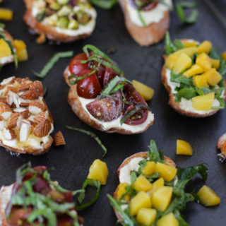 California Cling Peach Goat Cheese Crostini