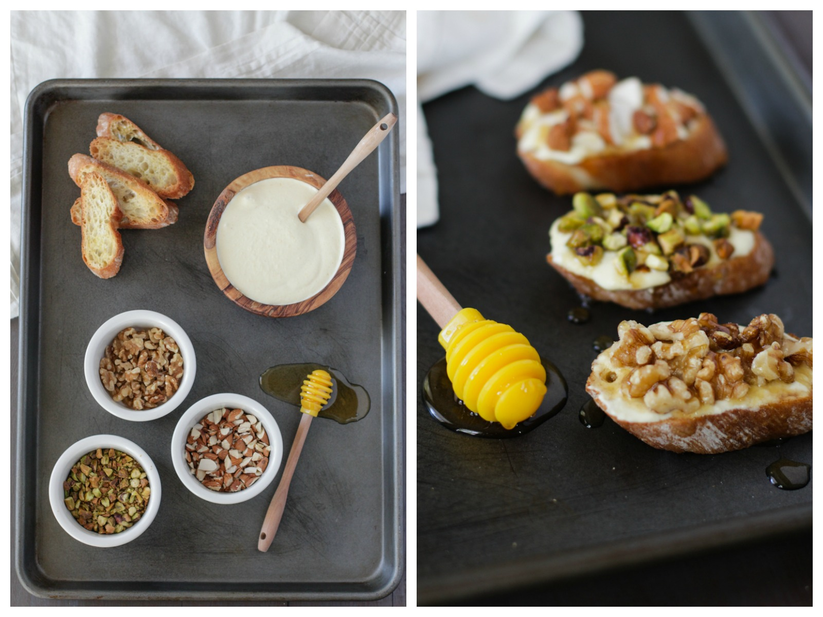 Cling Peach Goat Cheese Crostini with Nuts and Honey | Alyssa & Carla