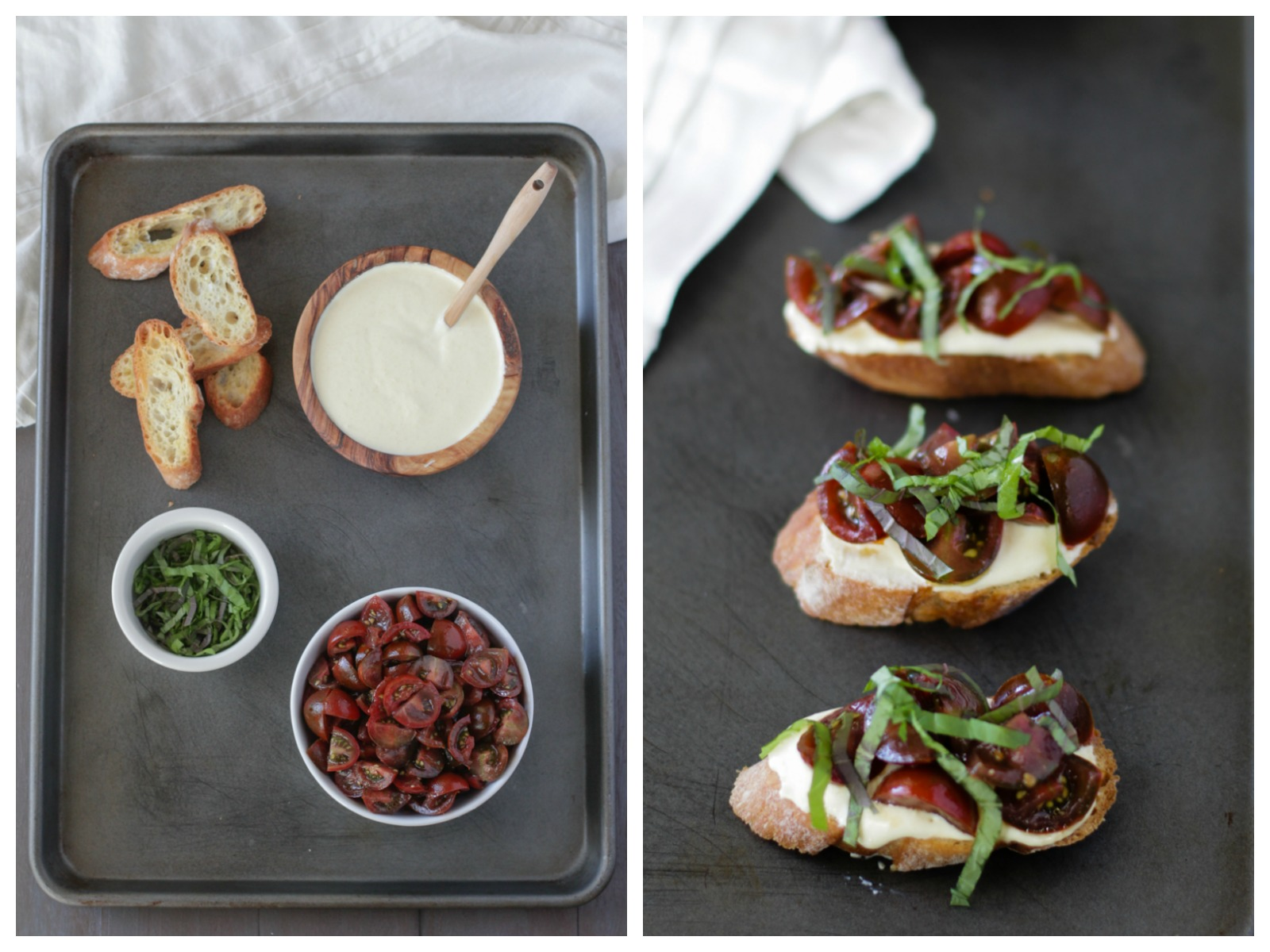 Cling Peach Goat Cheese Crostini with Tomatoes and Basil | Alyssa & Carla