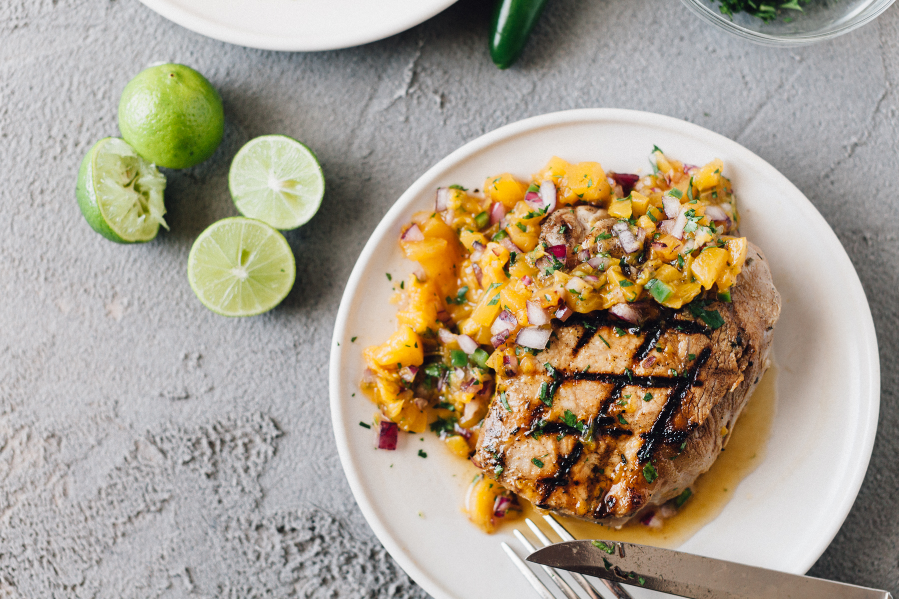 Cling Peach Salsa with Grilled Pork Chops | Alyssa & Carla