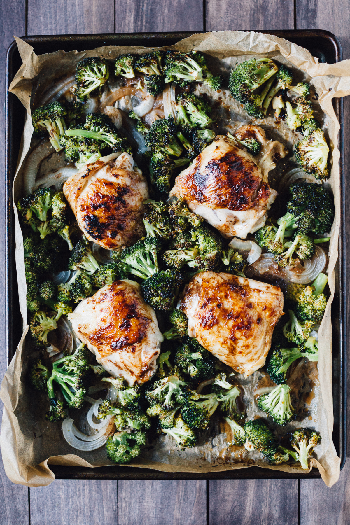 Sheet Pan Dinner: Balsamic Chicken Thighs with Roasted Broccoli | Alyssa & Carla